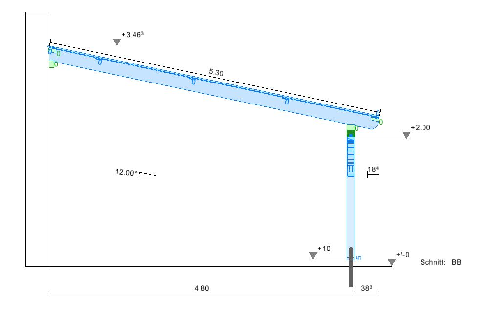 Solarterrassendach Seitenansicht