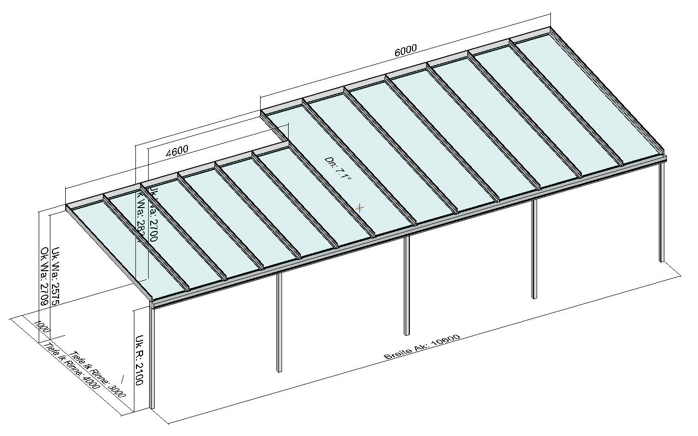 Terrassendach mit Versatz in der Tiefe