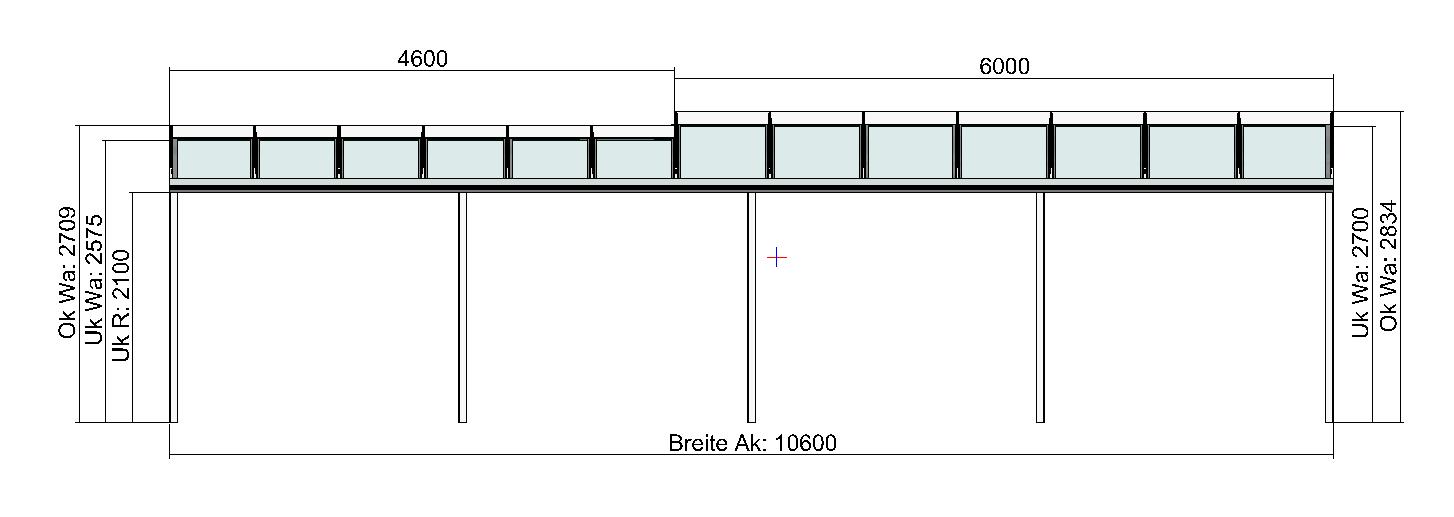 Terrassendach mit Versatz in der Tiefe Vorderansicht