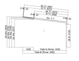 Terrassendach mit Versatz in der Tiefe Seitenansicht