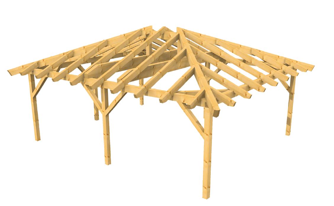 Walmdach Carport-aus Leimholz 3D Ansicht