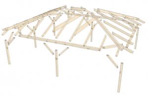 Walmdach Carport-aus Leimholz 3D Explosionszeichnung