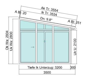 Terrassendach für Doppelhaus - Seitenansicht