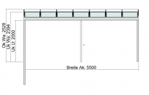 Terrassendach Elegant-Line auf erhöhter Terrasse Vorderansicht