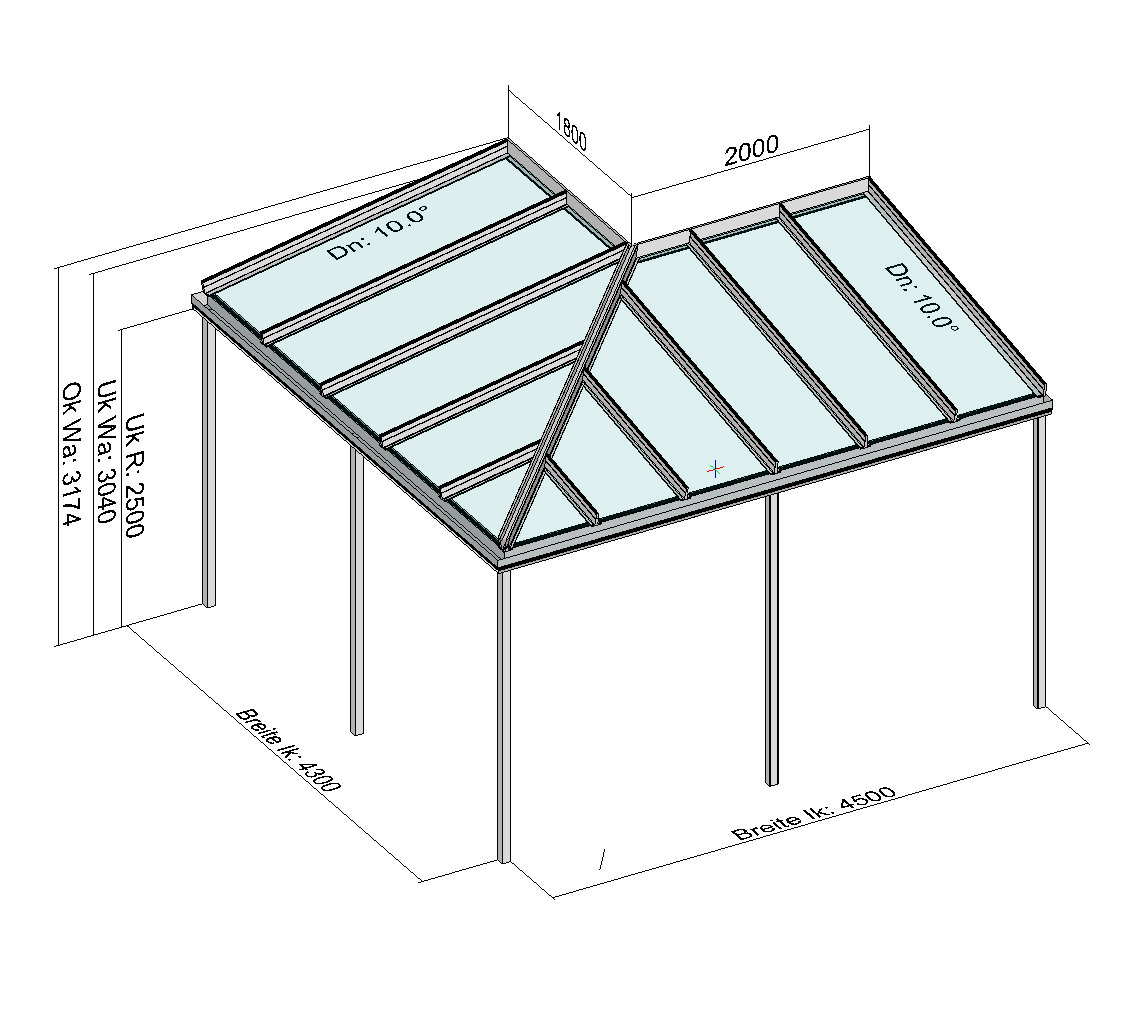 Eck-Terrassendach Perspektive mit Maßen