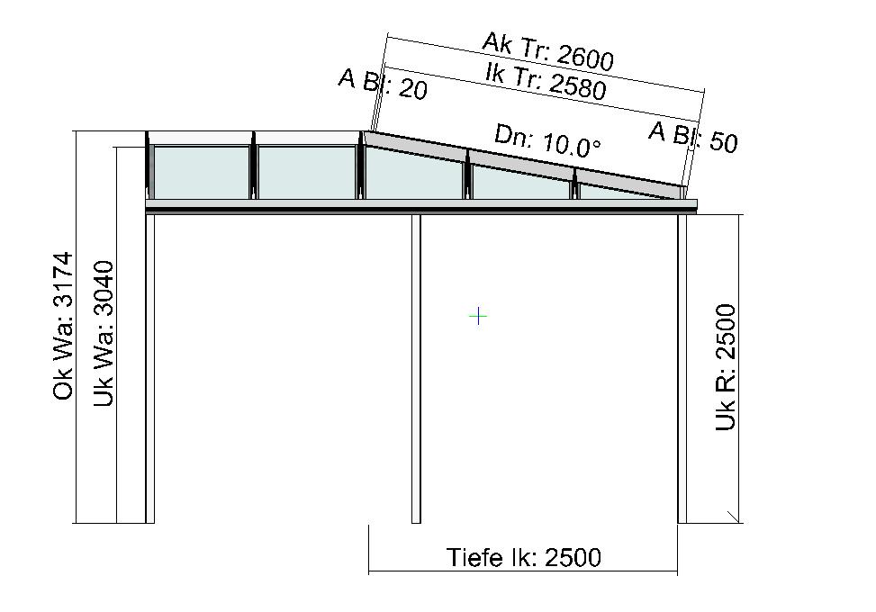 Eck-Terrassendach Seitenansicht