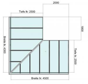 Eck-Terrassendach Draufsicht