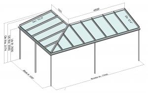 Eck-Terrassenüberdachung Draufsicht