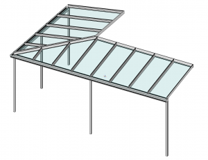 Eck-Terrassenüberdachung Perspektive