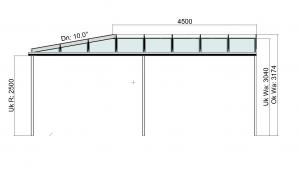 Eck-Terrassenüberdachung Seitenansicht
