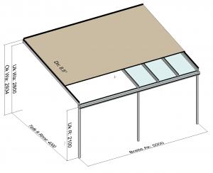 Kombination Textil- und Glasterrassendach