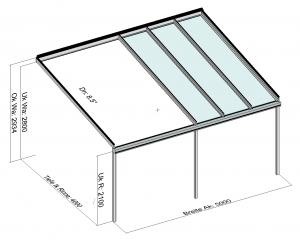 Kombination Textil- und Glasterrassendach, Markise eingefahren