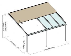 Kombination Textil- und Glasterrassendach Markise halb geöffnet