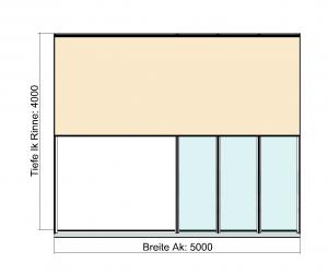 Kombination Textil- und Glasterrassendach Draufsicht