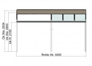 Kombination Textil- und Glasterrassendach Vorderansicht