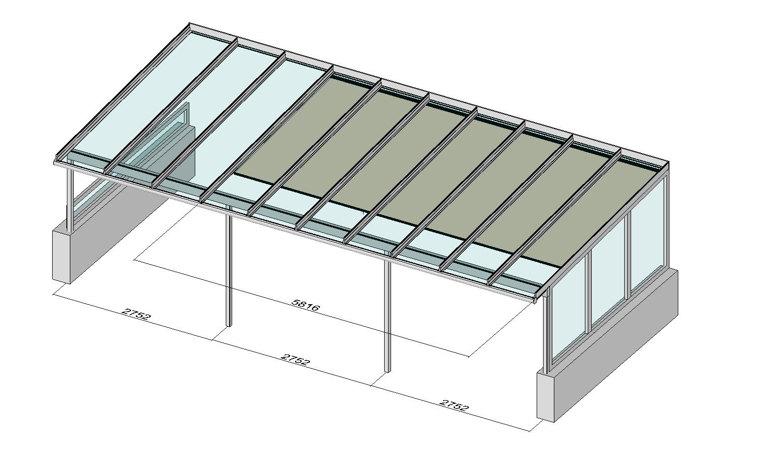 Terrassendach Elegant-Line mit Markise und Seitenwand