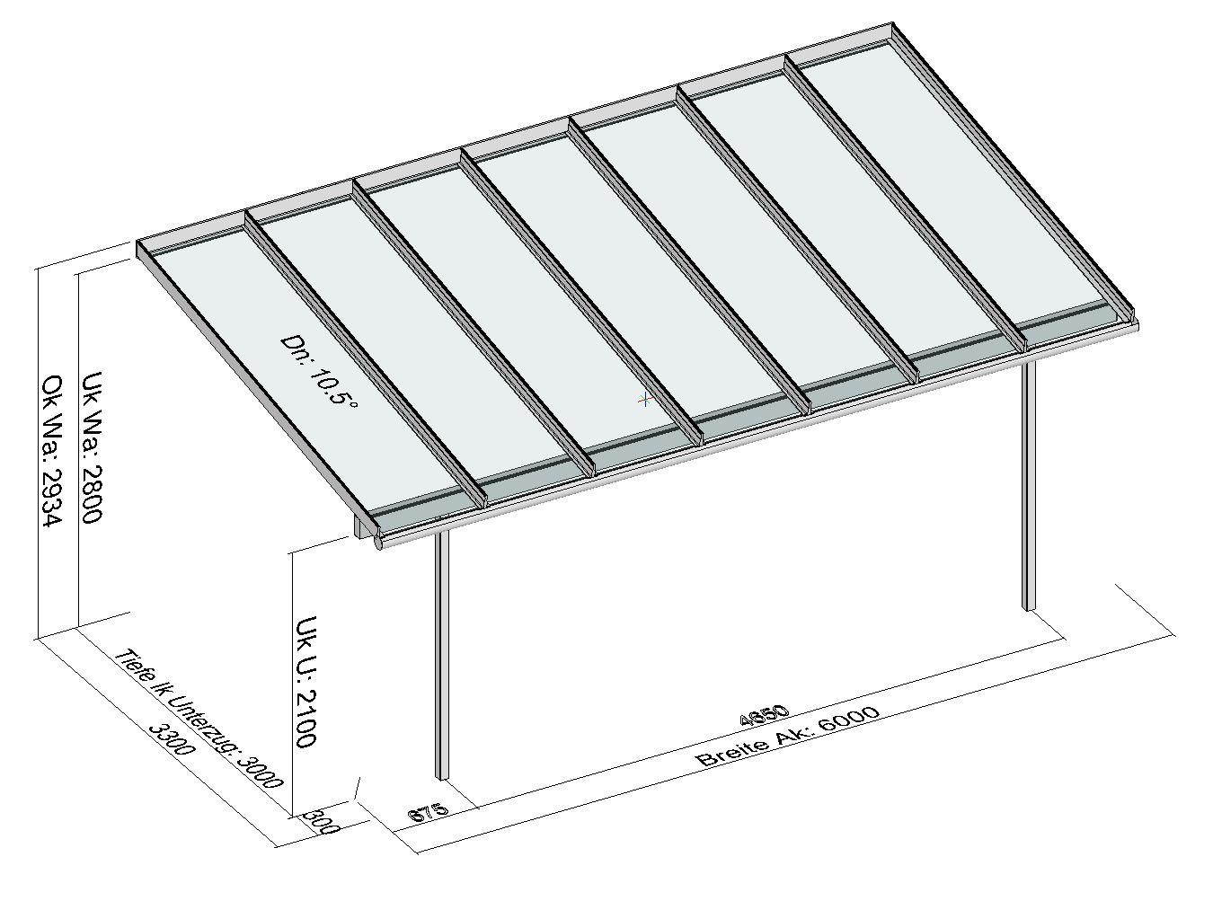 Terrassendach Elegant-Line mit 2 Stützen