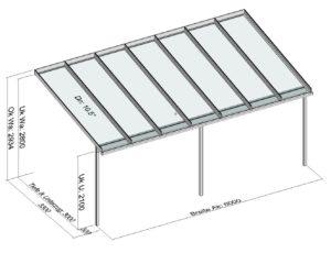 Terrassendach Elegant-Line mit 3 Stützen