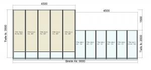 TerraSmart Terrassendach mit Tiefenversatz und Seitenwand- Draufsicht