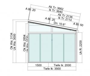 TerraSmart Terrassendach mit Tiefenversatz und Seitenwand - Seitenansicht