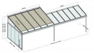 TerraSmart Terrassendach mit Tiefenversatz und Seitenwand