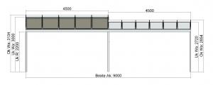 TerraSmart Terrassendach mit Tiefenversatz und Seitenwand - Vorderansicht