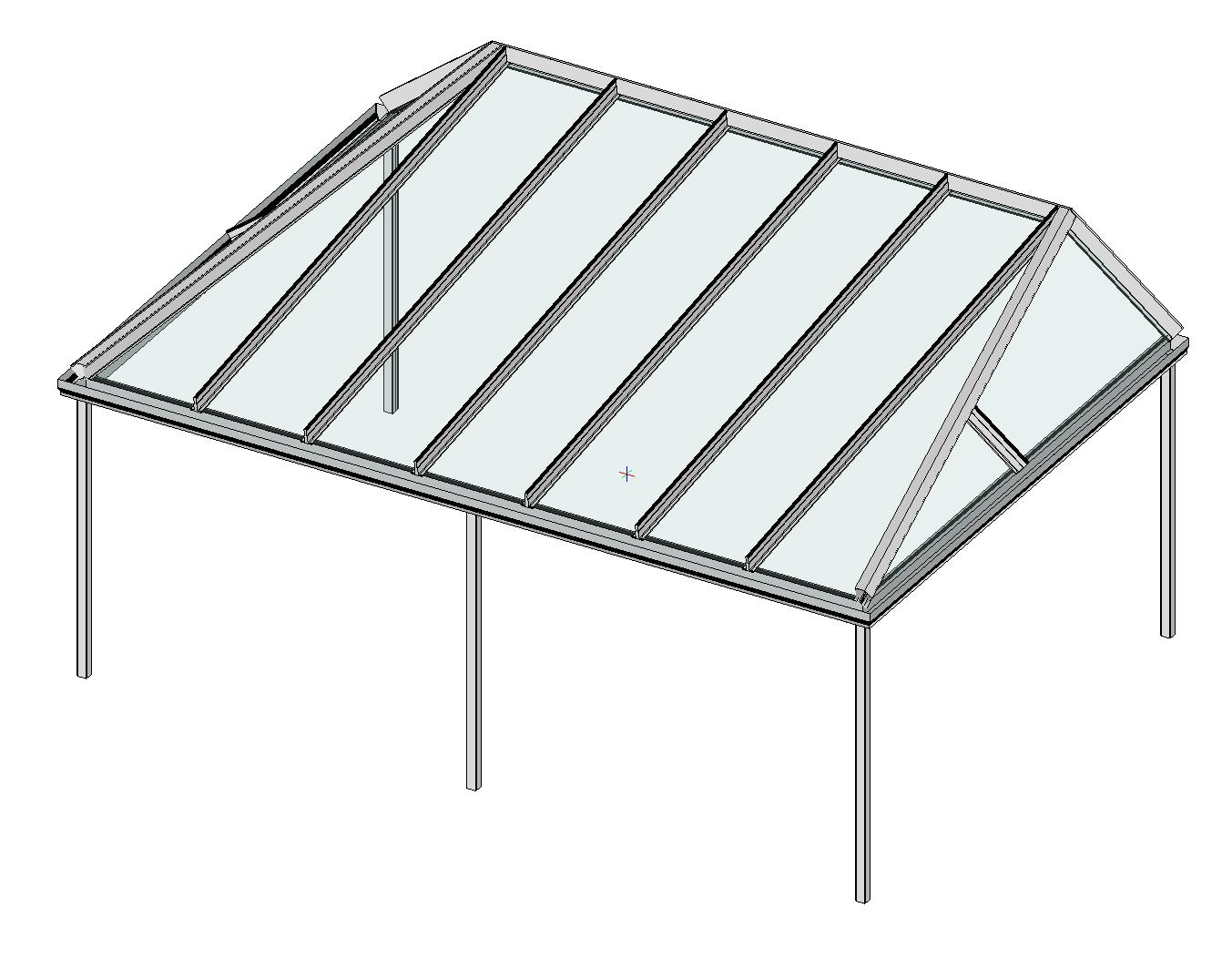 Terrassendach mit beidseitiger Abwalmung