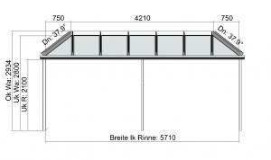 Vorderansicht Terrassendach mit beidseitiger Abwalmung