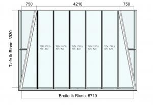 Draufsicht Terrassendach mit beidseitiger Abwalmung
