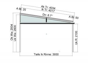 Seitenansicht Terrassendach mit beidseitiger Abwalmung