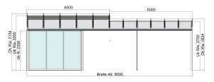 Terrassendach TerraSmart Classic-Line mit Seitenelementen und Markise - Vorderansicht