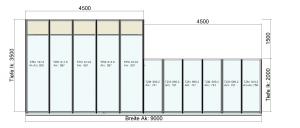 Terrassendach TerraSmart Classic-Line mit Seitenelementen und Markise - Draufsicht