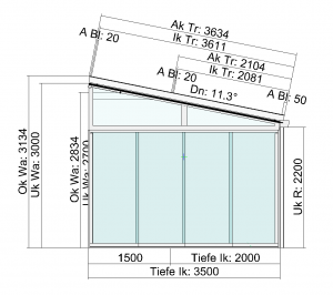 Terrassendach TerraSmart Classic-Line mit Seitenelementen und Markise - Seitenansicht