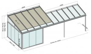 Terrassendach TerraSmart Classic-Line mit Seitenelementen und Markise