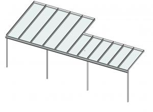 Terrassendach mit Versatz in der Bautiefe wandseitig