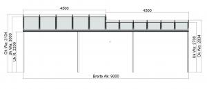 Terrassendach mit Versatz in der Bautiefe wandseitig Vorderansicht