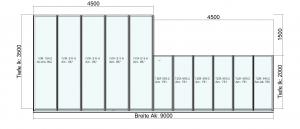 Terrassendach mit Versatz in der Bautiefe wandseitig Draufsicht
