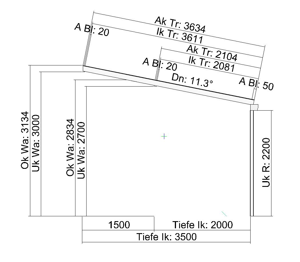 Terrassendach mit Versatz in der Bautiefe wandseitig Seitenansicht
