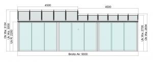 Terrassendach mit Seitenelementen Vorderansicht