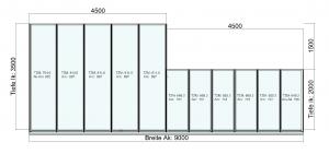 Terrassendach mit Seitenelementen Draufsicht