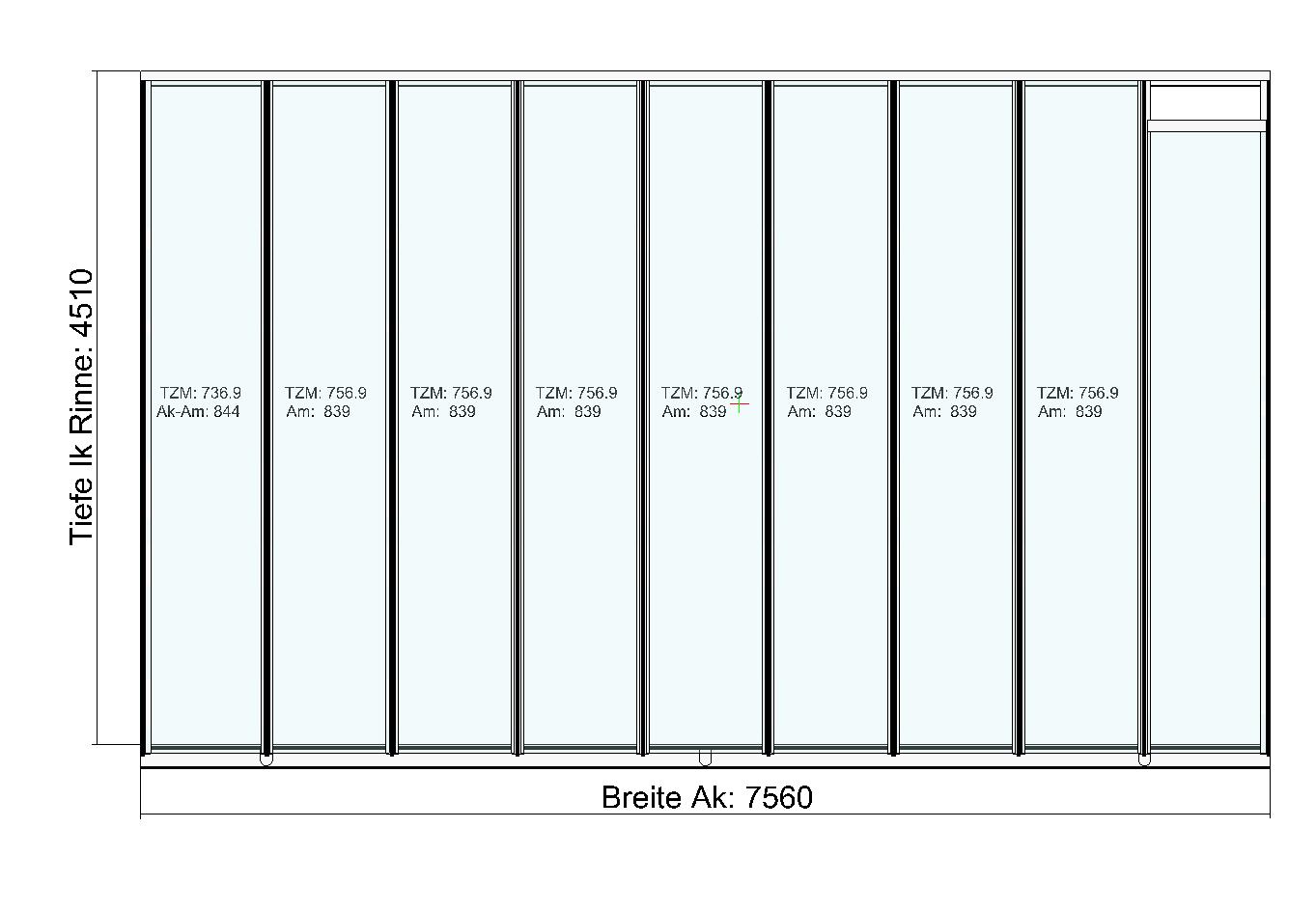 Terrassendach TerraSmart Classic-Line mit langen Glasscheiben Draufsicht