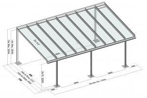 Terrassendach TerraSmart Classic-Line mit langen durchgehenden Glasscheiben