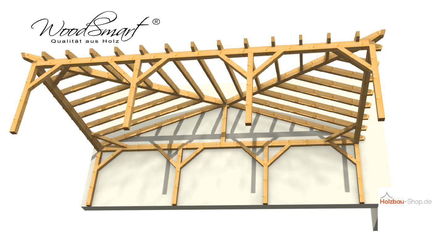 Holzcarport mit Walmdach