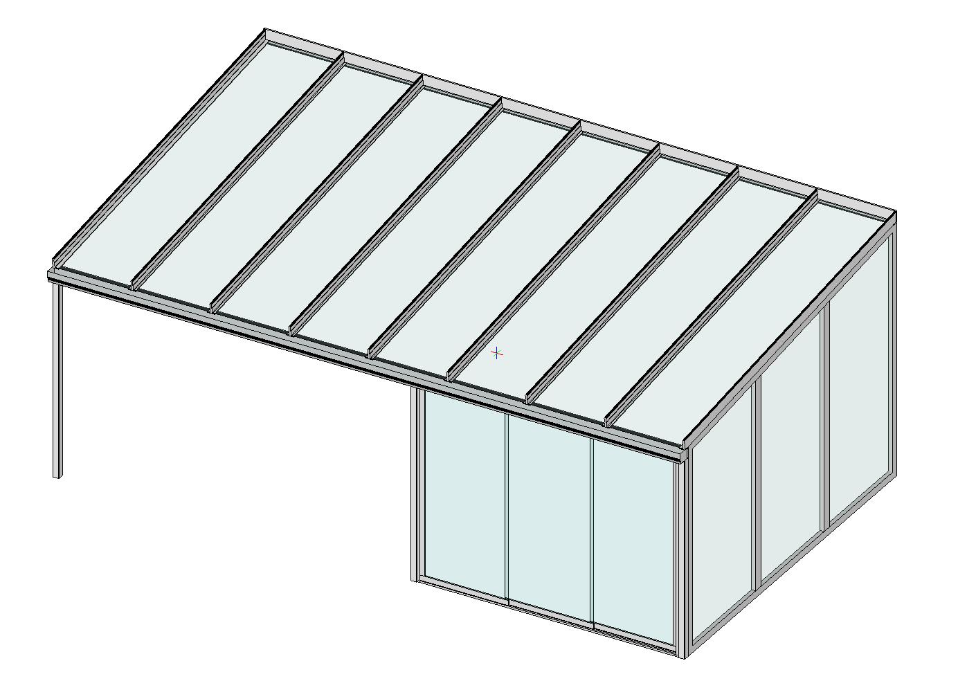 Terrassendach Classic-Line mit Festelement und Schiebeanalge