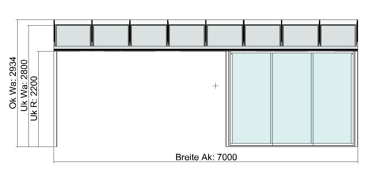 Terrassendach Classic-Line mit Festelement und Schiebeanalge Vorderansicht