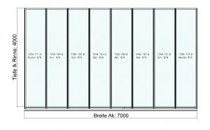 Terrassendach Classic-Line mit Festelement und Schiebeanalge Draufsicht