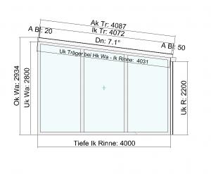 Terrassendach Classic-Line mit Festelement und Schiebeanalge Seitenansicht
