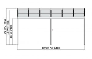 Terrassendach Elegant-Line mit grosser Tiefe - Vorderansicht