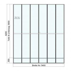 Terrassendach Elegant-Line mit grosser Tiefe - Draufsicht
