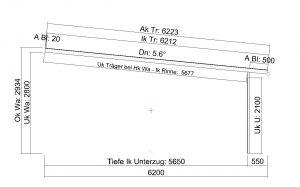 Terrassendach Elegant-Line mit grosser Tiefe - Seitenansicht